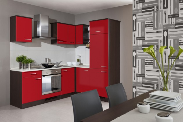Rohová Lily -Kuchyňský blok, 220x170cm (dub tmavý/červená/traini beige)