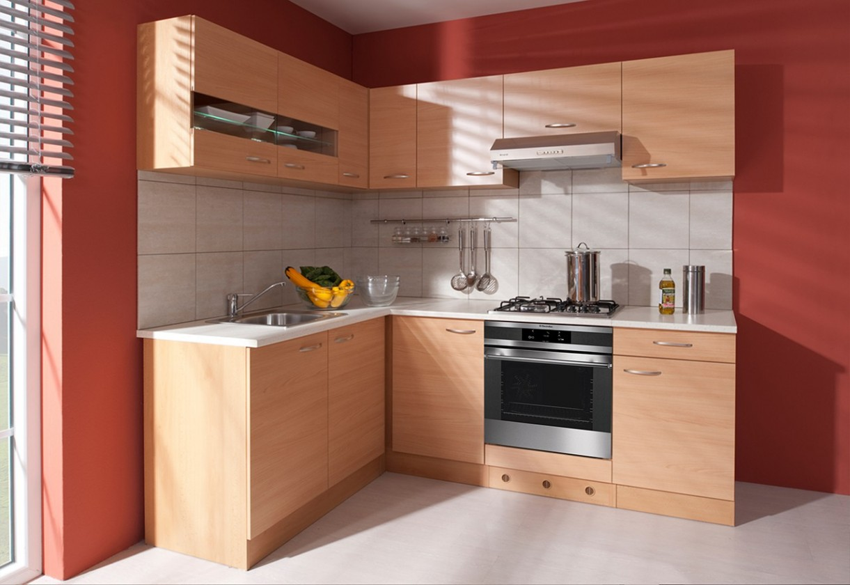 Rohová Nina - Kuchyně, 220x160 cm (buk, traini beige)