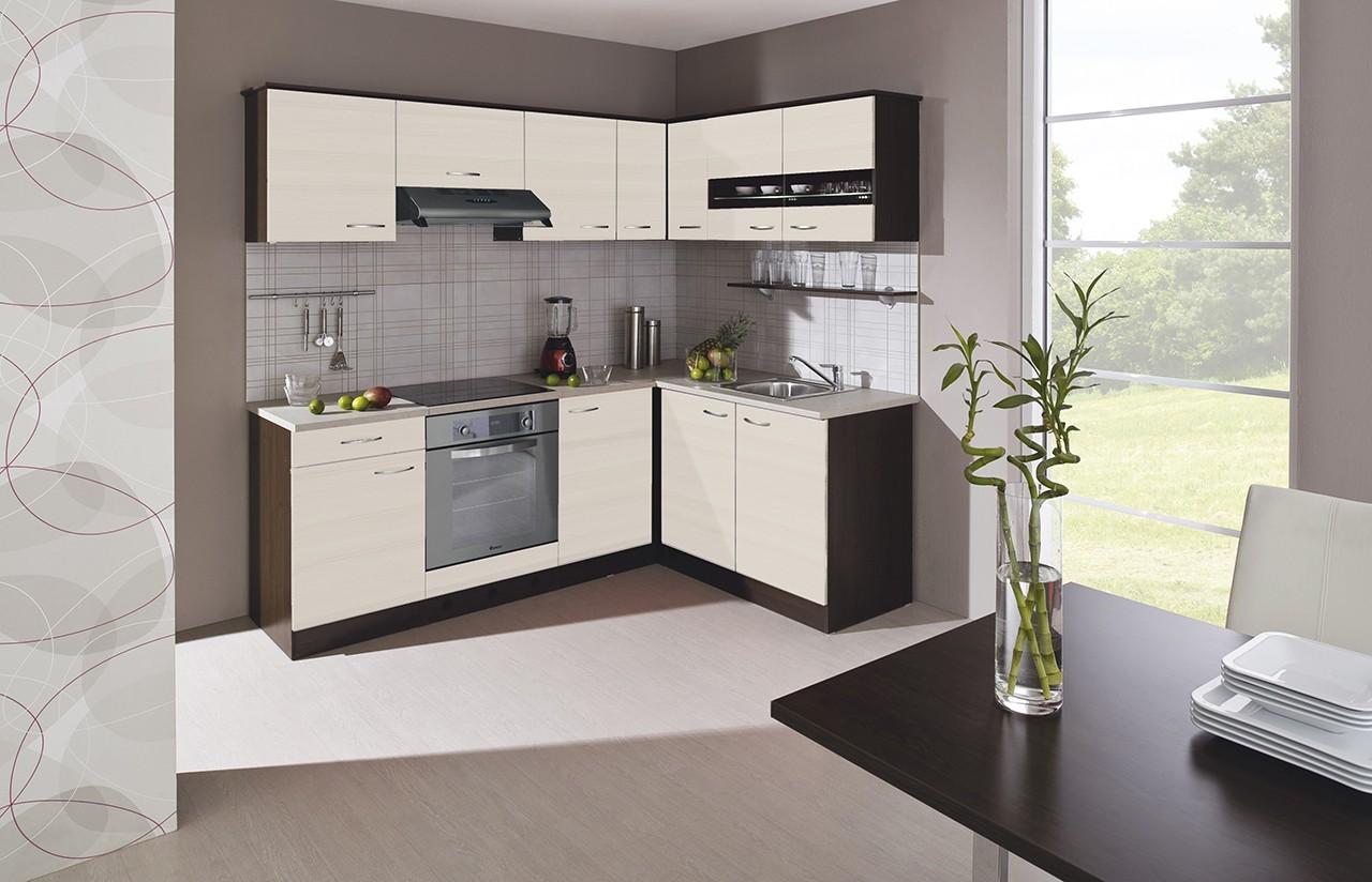 Rohová Nina - Kuchyně, 220x160 cm (woodline creme, dub tmavý, písek)