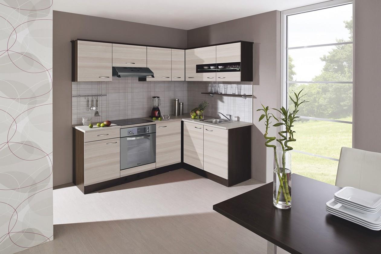 Rohová Nina - Kuchyně, 220x160 (jasan coimbra, dub tmavý, traini beige)