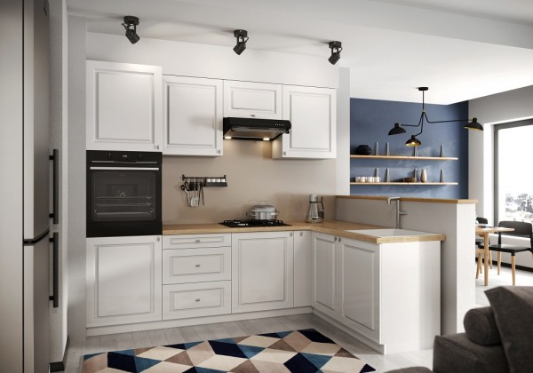 Rohová Rohová kuchyně Amelia pravý roh 255x170 cm (bílá matná)