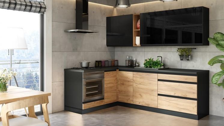 Rohová Rohová kuchyně Brick levý roh 240x160 cm (černá/dub craft)