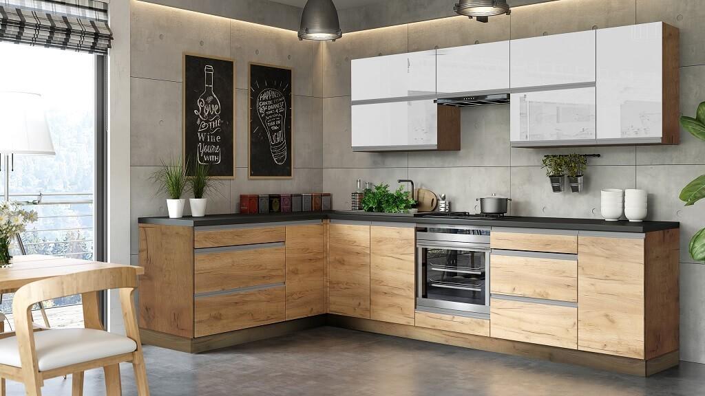 Rohová Rohová kuchyně Brick light levý roh 300x182 cm (bílá lesk/craft)