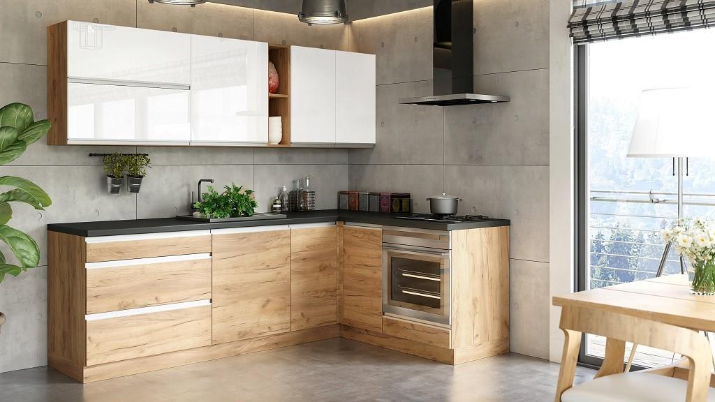 Rohová Rohová kuchyně Brick light pravý roh 240x160 cm (bílá/dub craft)