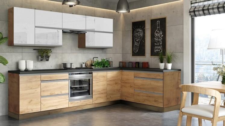 Rohová Rohová kuchyně Brick light pravý roh 300x182 cm(bílá lesk/craft)
