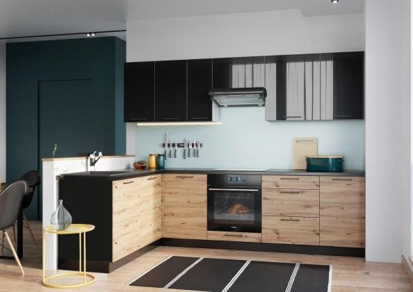 Rohová Rohová kuchyně Dixie levý roh 275x180 cm (černá/dub)
