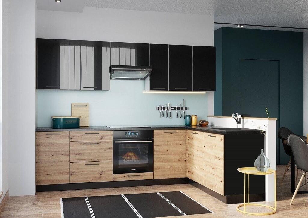 Rohová Rohová kuchyně Dixie pravý roh 275x180 cm (černá/dub)