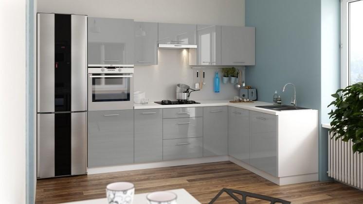 Rohová Rohová kuchyně Emilia Lux pravý roh 260x180 cm (šedá lesk)