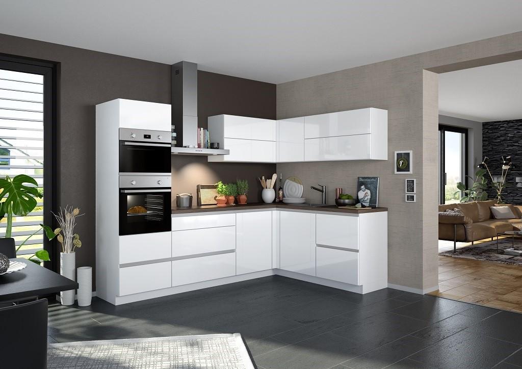 Rohová Rohová kuchyně Eugenie levý roh 275x185 (bílá, vysoký lesk, lak)