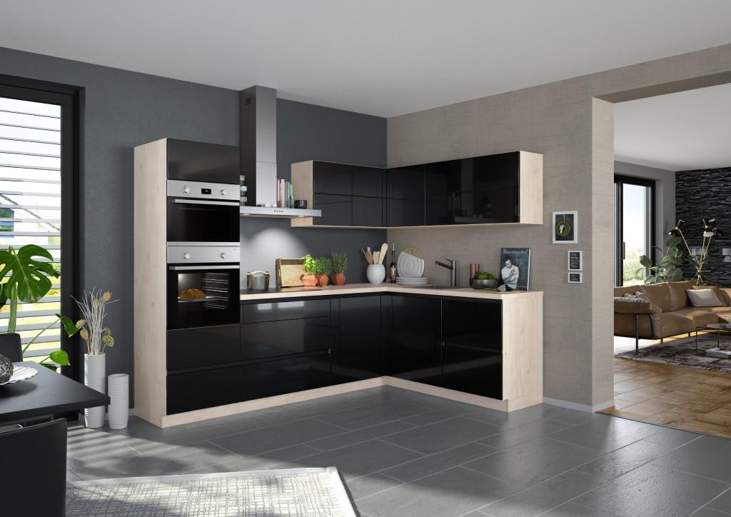 Rohová Rohová kuchyně Eugenie levý roh 275x185 (černá,vysoký lesk, lak)