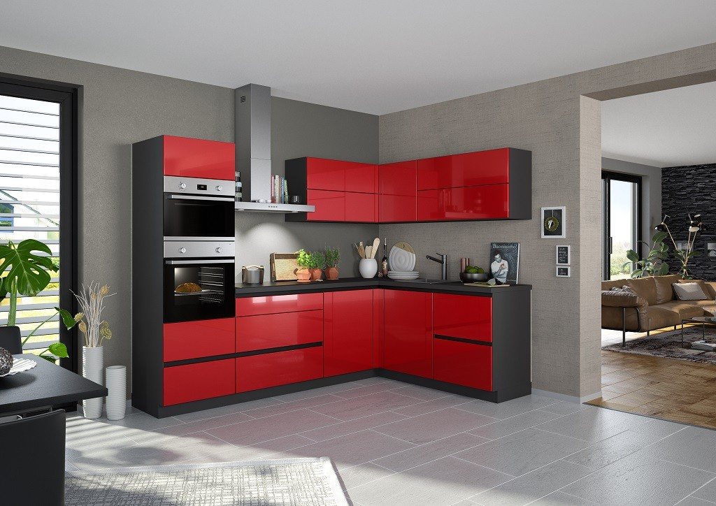 Rohová Rohová kuchyně Eugenie levý roh 275x185(červená,vysoký lesk,lak)