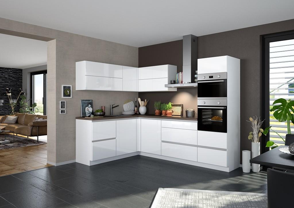 Rohová Rohová kuchyně Eugenie pravý roh 275x185 (bílá,vysoký lesk, lak)