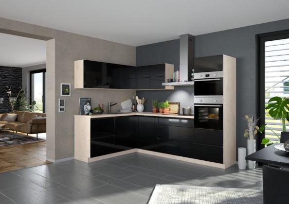 Rohová Rohová kuchyně Eugenie pravý roh 275x185 (černá,vysoký lesk,lak)