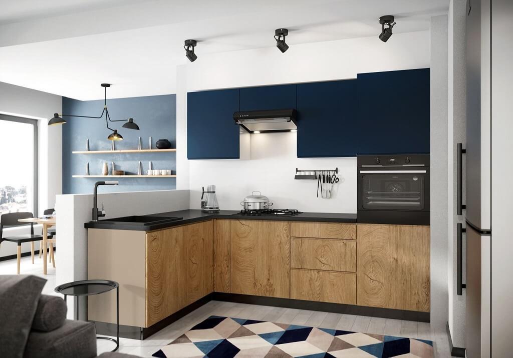 Rohová Rohová kuchyně Leya levý roh 255x170 cm (modrá mat/dřevo)
