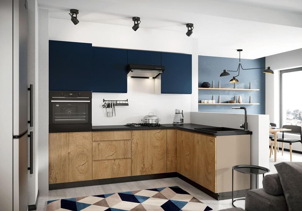 Rohová Rohová kuchyně Leya pravý roh 255x170 cm (modrá mat/dřevo)