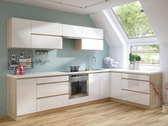 Rohová rohová kuchyně line pravý roh 320x180 cm (bílá lesk/dub sonoma)