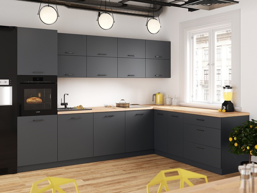Rohová Rohová kuchyně Lisa pravý roh 300x220 cm (šedá)