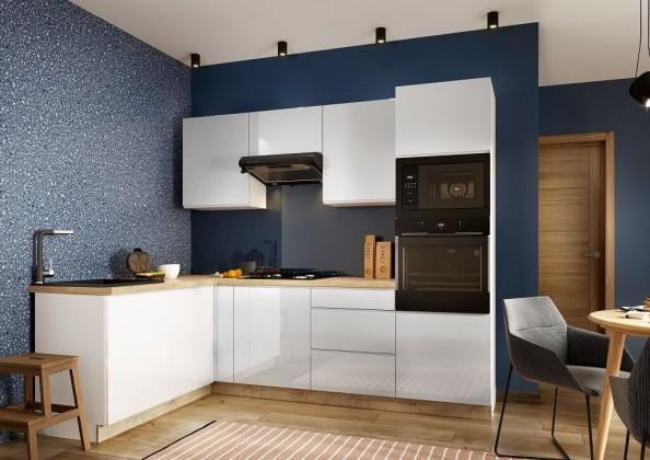 Rohová Rohová kuchyně Lisse levý roh 255x170 cm (bílá lesk)
