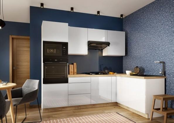 Rohová Rohová kuchyně Lisse pravý roh 255x170 cm (bílá lesk)