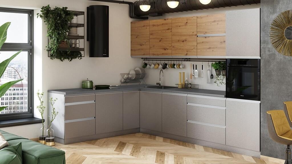 Rohová Rohová kuchyně Metalica levý roh 320x220 cm (stříbrná, dub)