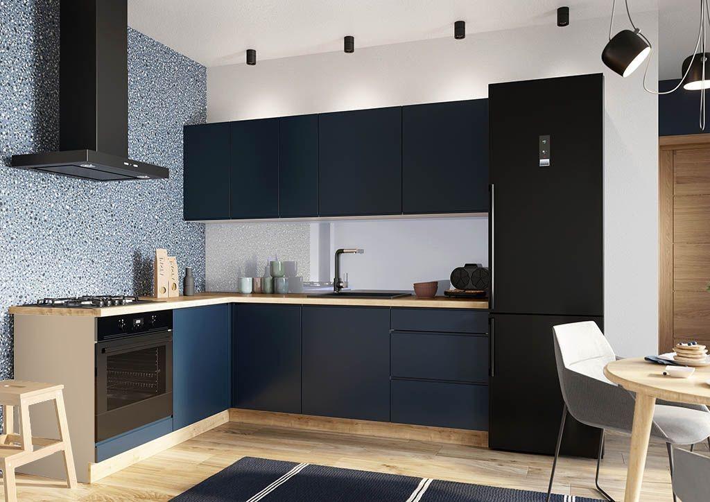 Rohová Rohová kuchyně Minea levý roh 230x180 (modrá mat)