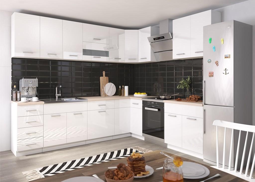 Rohová Rohová kuchyně Rio levý roh 270x170 cm (bílá lesk/dub sonoma)