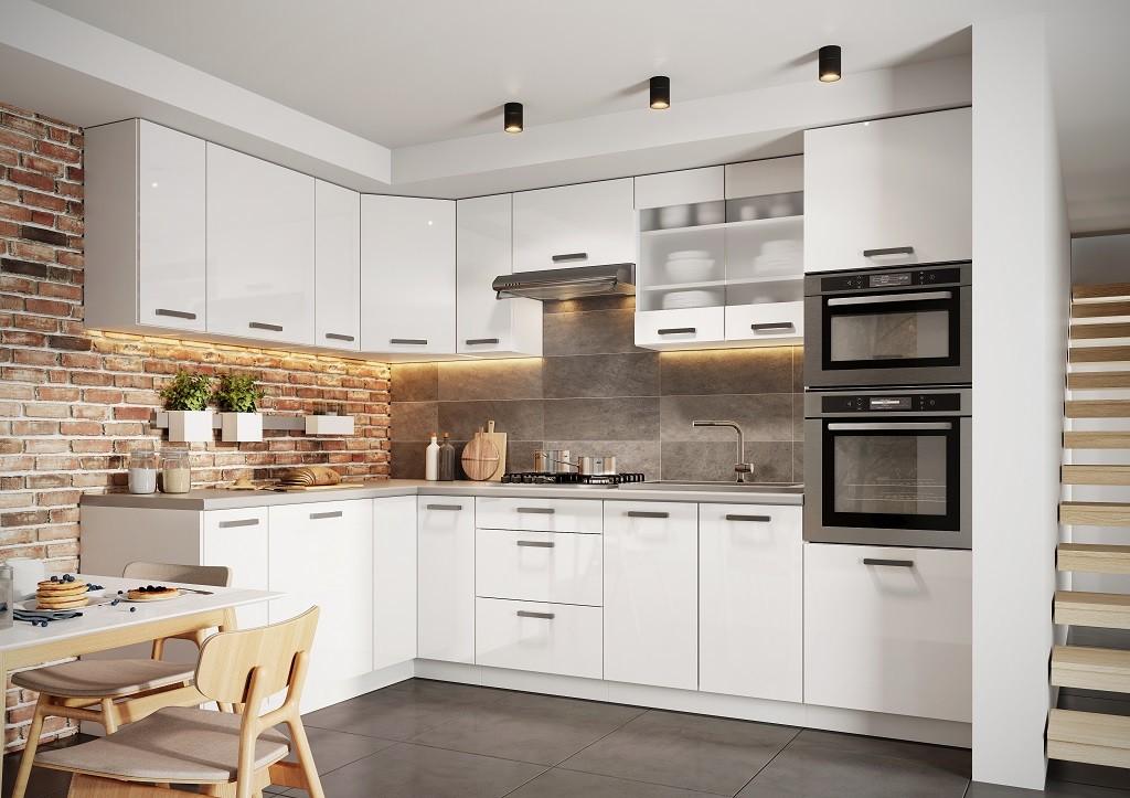 Rohová Rohová kuchyně Vicky levý roh 290x180 cm (bílá vysoký lesk)
