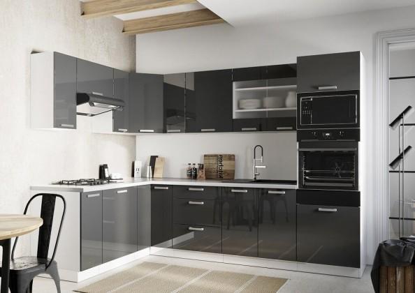 Rohová rohová kuchyně vicky levý roh 290x180 cm (šedá lesk)