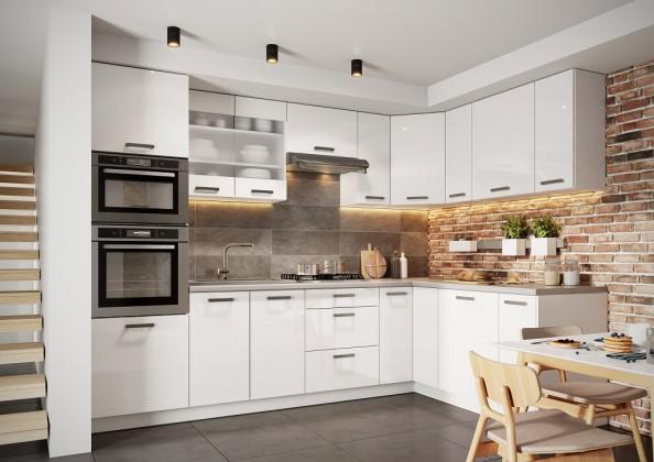 Rohová rohová kuchyně vicky pravý roh 290x180 cm (bílá vysoký lesk)