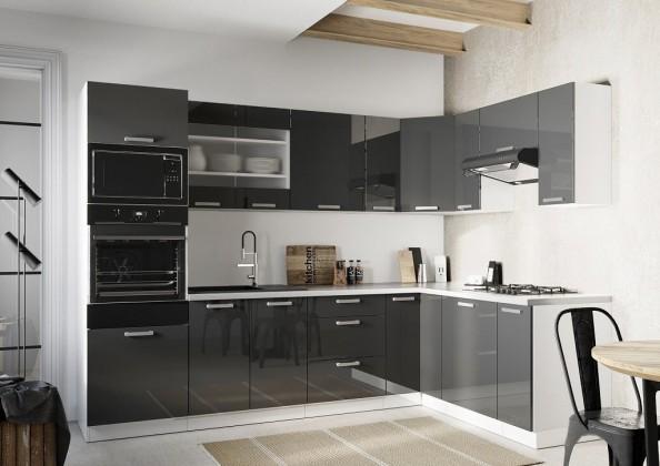 Rohová rohová kuchyně vicky pravý roh 290x180 cm (šedá lesk)