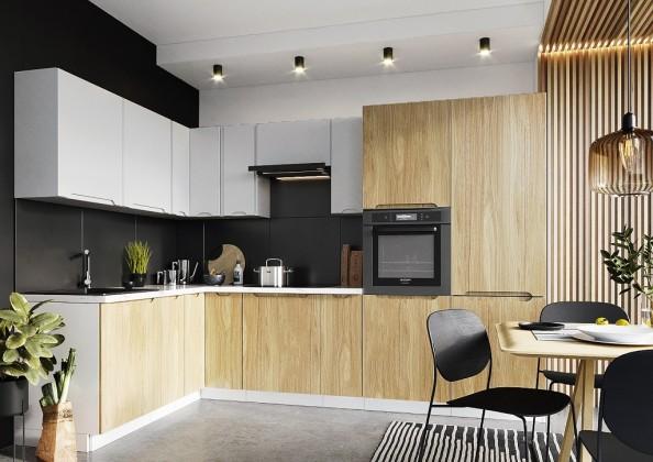 Rohová Rohová kuchyně Zoya levý roh 300x180 cm (šedá/dřevo)