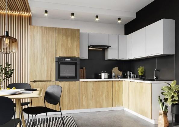 Rohová Rohová kuchyně Zoya pravý roh 300x180 cm (šedá/dřevo)