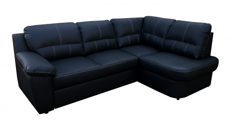 Rohová sedací souprava Arosa - roh pravý (černá kůže/eko)