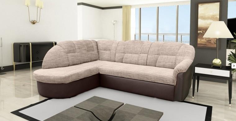 Rohová sedací souprava Borneo - levý roh (berlin č.3 / eco kůže braz)
