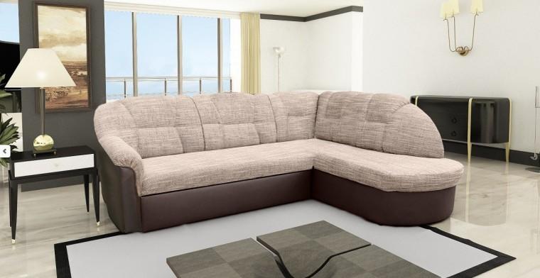 Rohová sedací souprava Borneo - pravý roh (berlin č.3 / eco kůže braz)