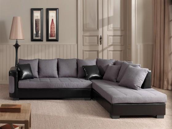 Rohová sedací souprava Creta-roh pravý (savana dark grey-hl. látka/bycast black-korpus)