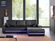 Rohová sedací souprava Flash pravý roh (černá, syntetická kůže)