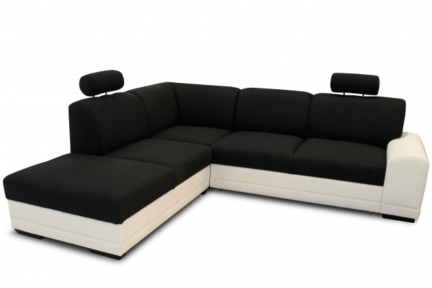 Rohová sedací souprava Laon II - Levý roh (bronco 800 bílá / merida 08 černá)