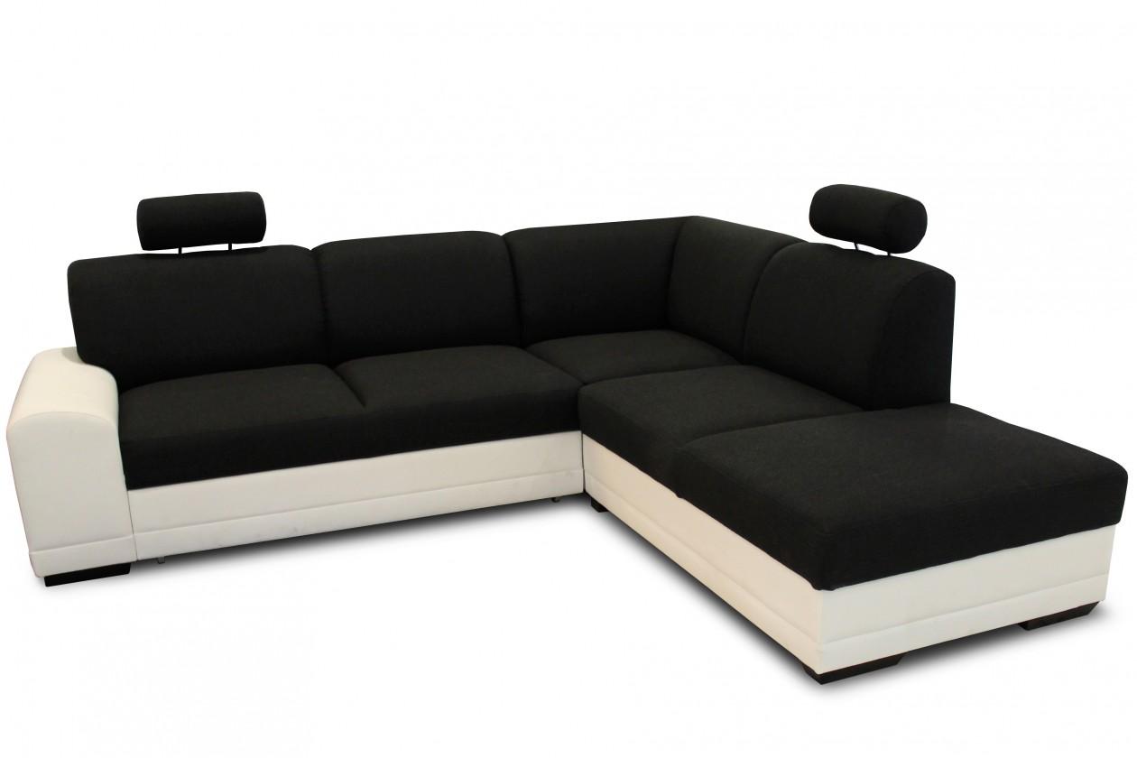 Rohová sedací souprava Laon II - Pravý roh (bronco 800 bílá / merida 08 černá)