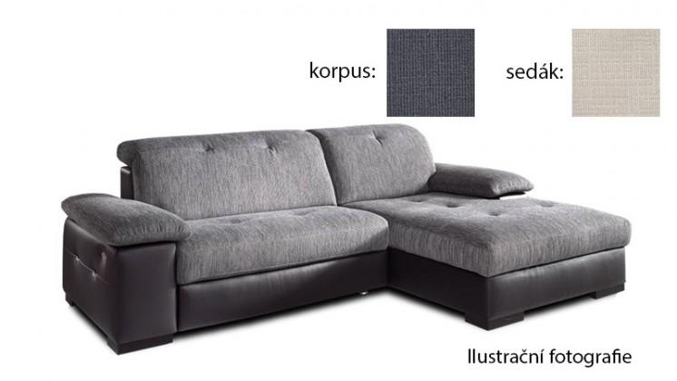 Rohová sedací souprava Livorna - pravá (k:carezza-steel b137/m:carezza-beige b131)