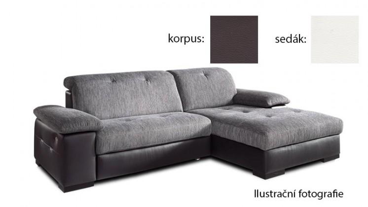 Rohová sedací souprava Livorna - pravá (k:pulse-coffee d207/m:pulse-white d200)