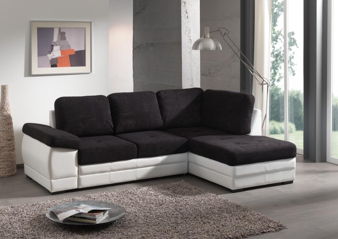 Rohová sedací souprava Lyon-roh pravý (microfiber black-hlavní látka/pvc white-korpus)
