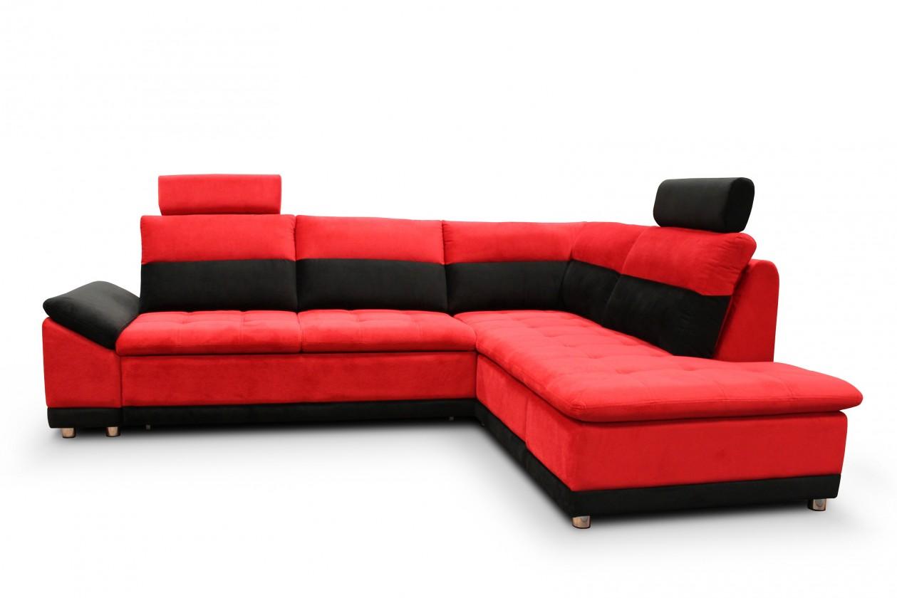 Rohová sedací souprava Rohová sedací souprava Manilla pravý roh (látka,červená,černá)