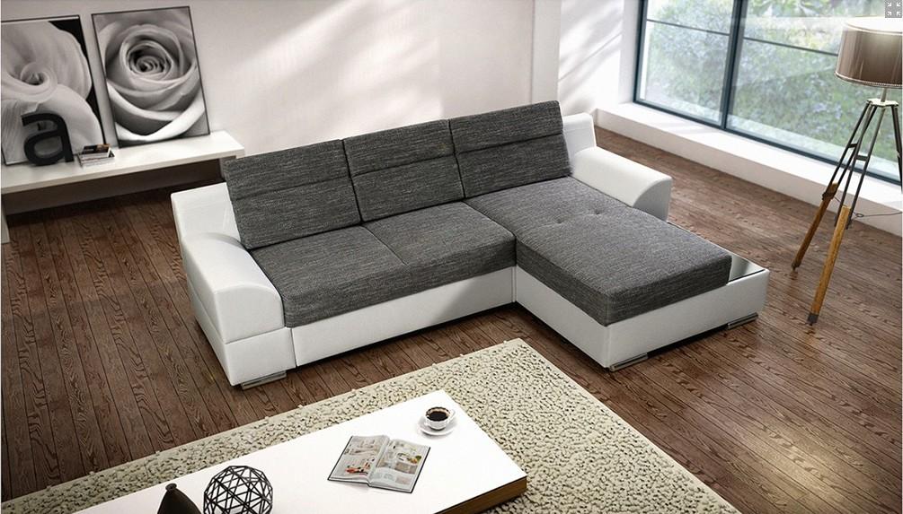 Rohová sedací souprava Rohová sedací souprava Tiscali pravý roh (látka/eko,šedá,bílá)