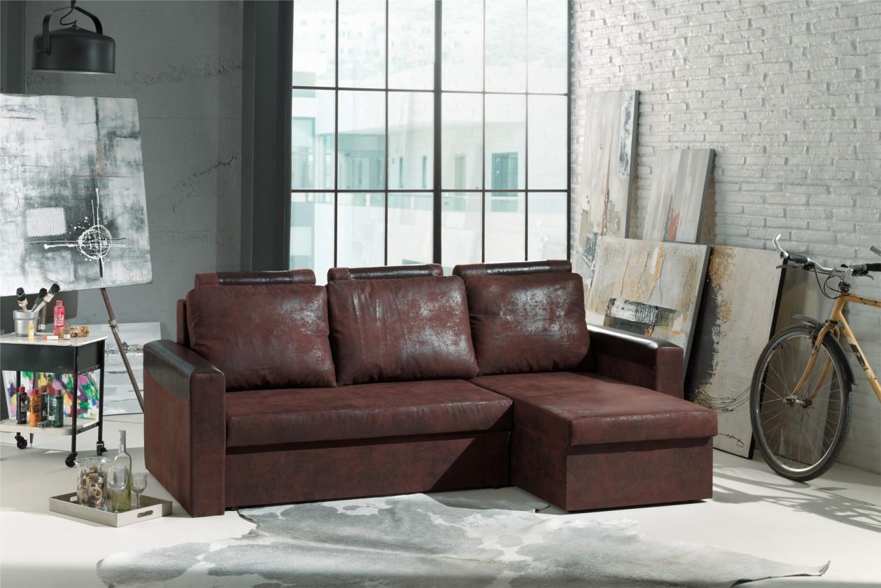 Rohová sedací souprava Rohová sedačka Dimi univerzální (gobi 04/bycast, hnědá)