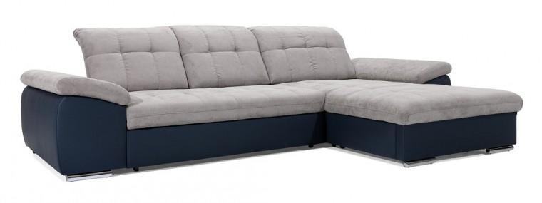Rohová sedací souprava Rohová sedačka rozkládací Ateca pravý roh ÚP šedá, modrá