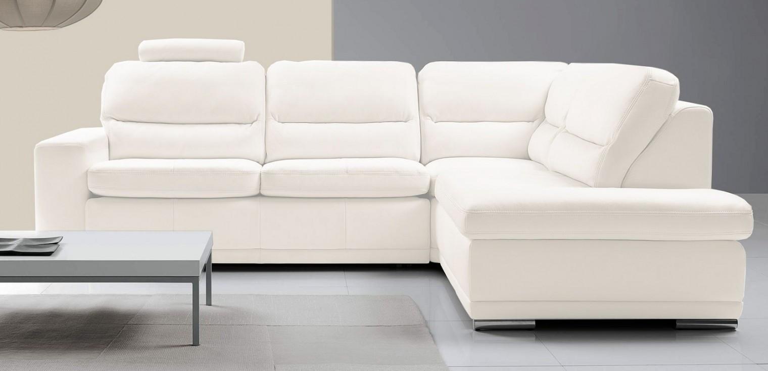 Rohová sedací souprava Rohová sedačka rozkládací Bono pravý roh bílá