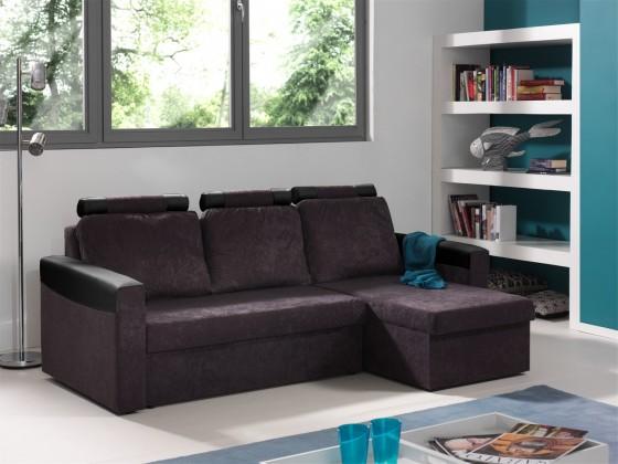 Rohová sedací souprava Rohová sedačka rozkládací Dimi univerzální (mf grey/pvc black)