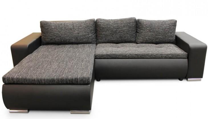Rohová sedací souprava Rohová sedačka rozkládací Enro univerzální roh ÚP černá, šedá