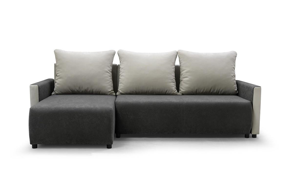 Rohová sedací souprava Rohová sedačka rozkládací Finezja univerzální roh ÚP šedá, bílá
